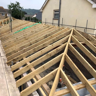 Extension roof construction