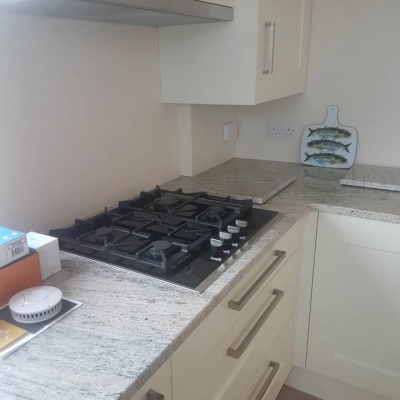 Gas hob in new build kitchen installation, Axminster