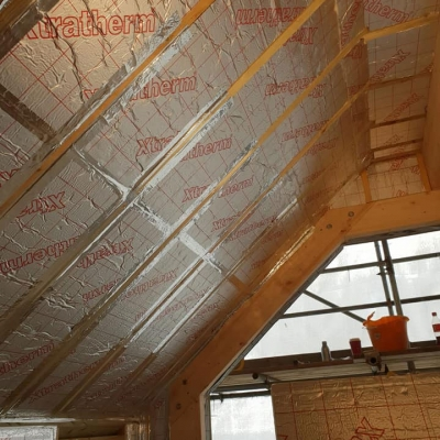 Roof insulation, building project
