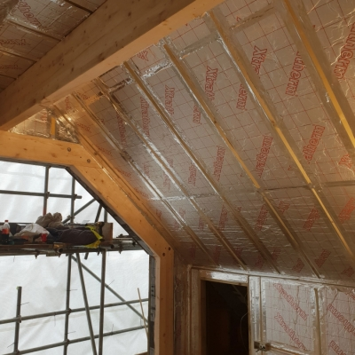 Roof insulation on new build construction project